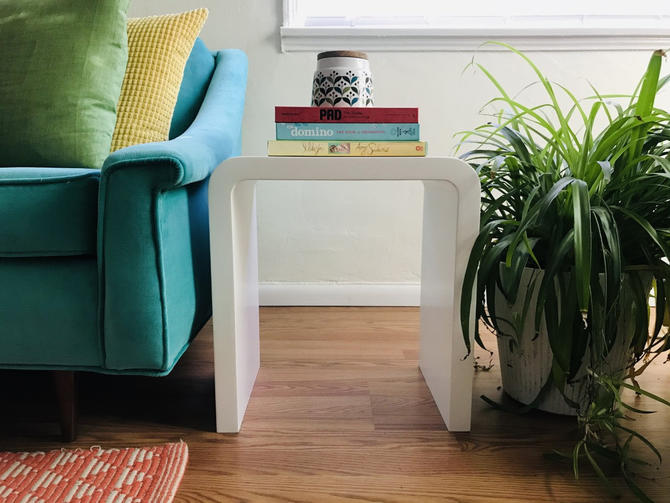 MID CENTURY MODERN White Waterfall Edge Side Table by HouseCandyLA