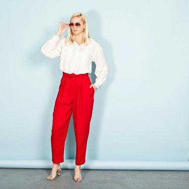 80s Bright Red Formal Pants Vintage Rayon High Rise Trousers by AppleBranchesVintage