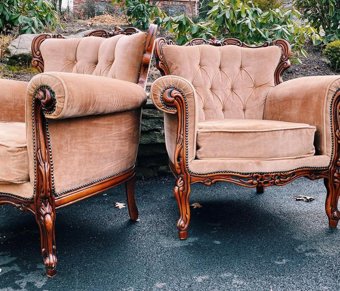Blush Pink Ornate Italian Arm Chair, French Italian Victorian upholstered chair, French Bergere Style Chair, Carved wood Lounge Chair by VintageandSwoon