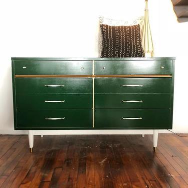 Hunter Green Mid Century Dresser