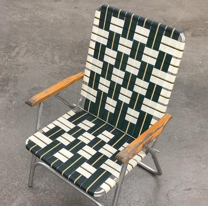 Vintage Lawn Chair Retro 1980s Green and White + Vinyl Webbing + Silver Aluminum Frame + Folds Up + Outdoor Seating + Patio Furniture by RetrospectVintage215