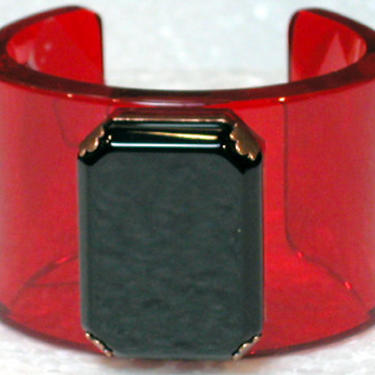 French Bracelet Lucite Cuff Clear Red with Black Cabochon Center by CafeSocietyStore