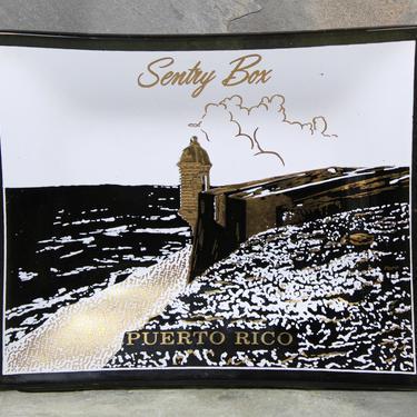 Puerto Rico Souvenir Ashtray - Smokey Grey Glass Trinket Dish - Sentry Box - Devil's Sentry Box | FREE SHIPPING by Bixley