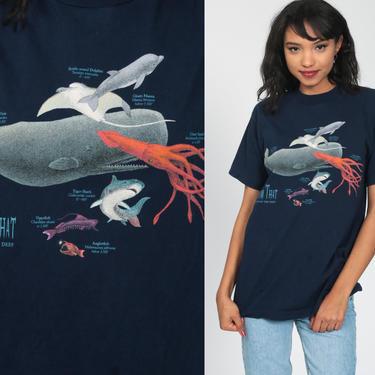 Under The Sea Shirt WHALE + SQUID + DOLPHIN Shirt 90s Graphic TShirt Fish Marine Graphic Shirt Beach Tee 00s Vintage Retro Small Medium by ShopExile