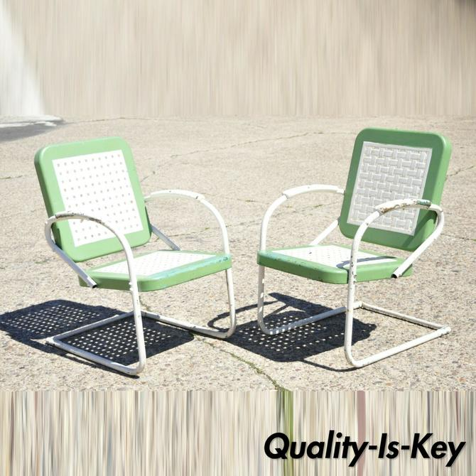 Vtg Art Deco Metal Basketweave Old Green Porch Outdoor Spring Arm Chairs - Pair