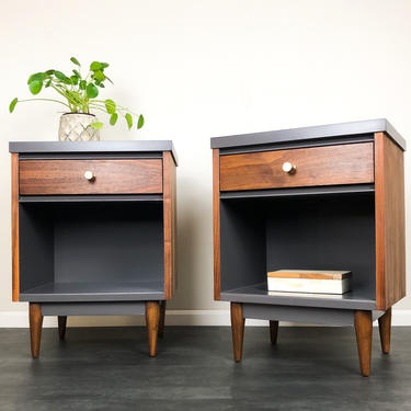 SOLD!  Mid Century Modern Bedside Tables by ReNuvoDesign