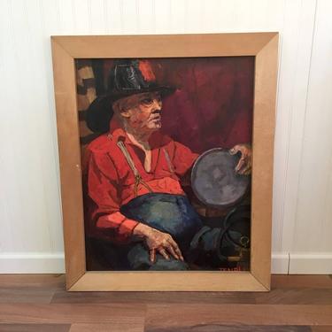 Fireman life study - impressionist portrait - 1940s vintage painting by NextStageVintage