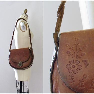 FLOWER CHILD Vintage 70s Tooled Leather Shoulder Bag   1970s Brown Hand Laced Floral Design Purse   Mexican, Boho Bohemia, Hippie, Festival by lovestreetsf