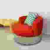 1970s Red/Orange Harvey Probber Round Chrome Chair