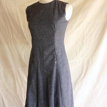 60s Dark Gray Jumper Dress Schoolgirl Scooter Dress Size XS / S by TheOppShopATL