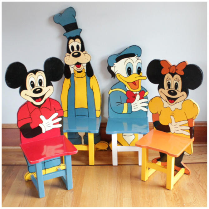 F3136 Vintage Disney Folkart Set of 4 Mickey Mouse Wooden Hand Made & Painted Child's Chairs by bbbantiques