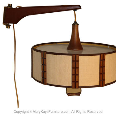Mid Century Danish Modern Wall Mount Hanging Lamp Swing Arm by Marykaysfurniture