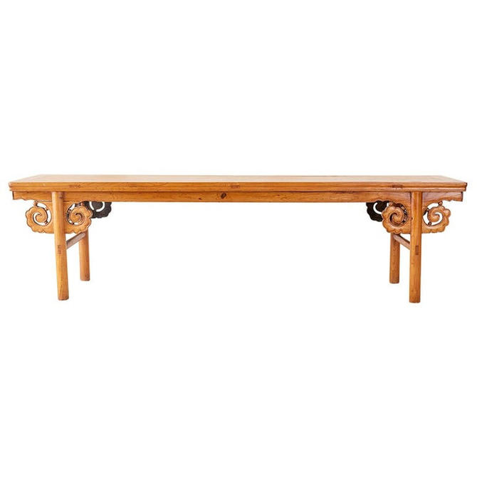 Chinese Qing Style Carved Elm Altar Table or Bench by ErinLaneEstate