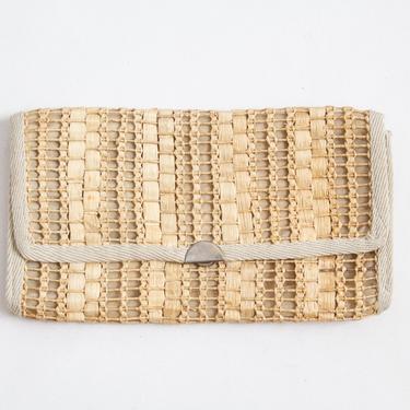 Lido Clutch — vintage raffia clutch / 60s Italian-made woven seagrass beach bag / large rectangular straw boho summer festival purse by fieldery