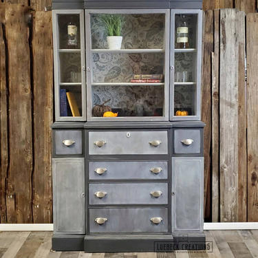 Refinished Mahagony China Hutch. Secretary Desk. Drop down front. Wood hutch. by LuebeckCreations