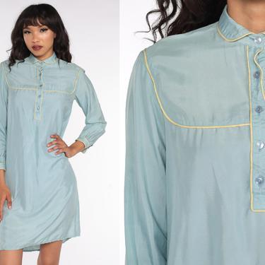 70s Silk Dress Blue Mini Dress Shift Peter Pan Collar Long Sleeve Minidress Hippie Boho Vintage 1970s Button Up Small S by ShopExile