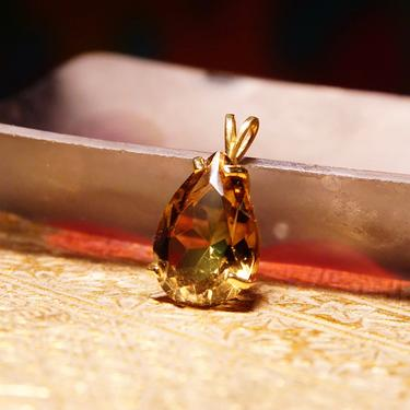 """Vintage 14K Gold Smoky Quartz Teardrop Pendant, Faceted Pear-Cut Gemstone In Pronged Cathedral Setting, Split Gold Bail, 1"""" L x 5/8"""" W by shopGoodsVintage"""