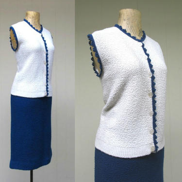Vintage 1950s Boucle Knit Sweater Set, 50s White Sleeveless Shell and Navy Blue Pencil Skirt, Size Medium by RanchQueenVintage