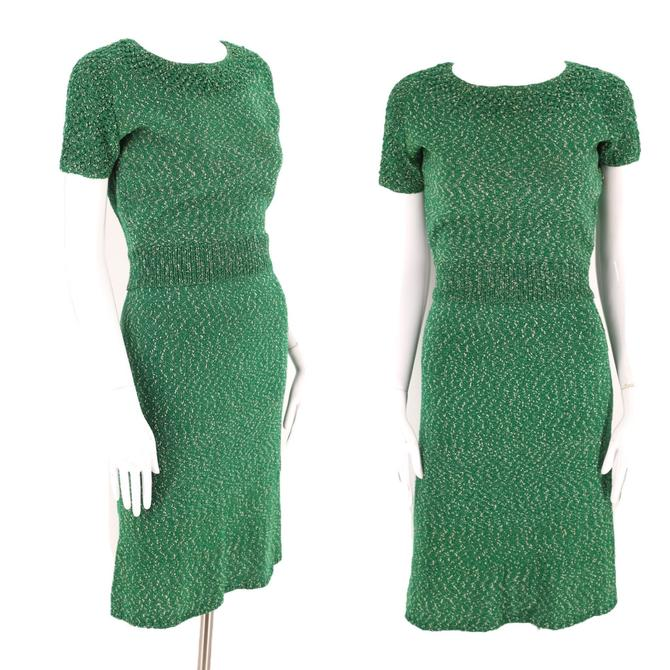 60s green KNIT day dress set S / vintage 1960s knitwear sweater girl outfit with skirt by ritualvintage