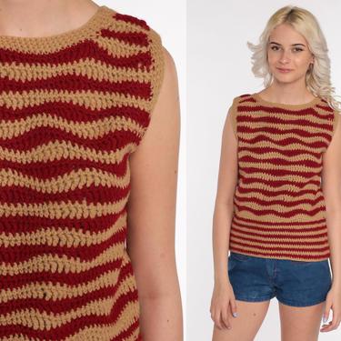 Crochet Crop Top 70s Tank Top Striped Shirt Festival Vest Boho Blouse Open Weave Tan Burgundy 1970s Hippie Cutwork Bohemian Medium by ShopExile