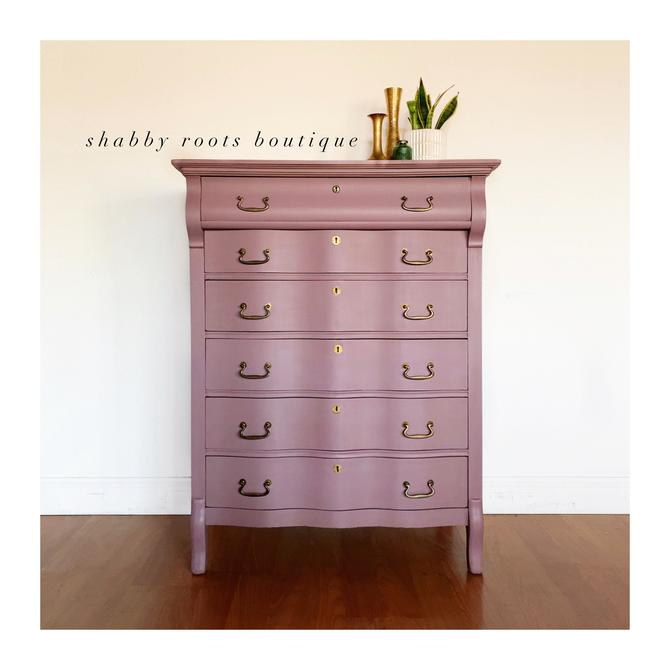 NEW! Gorgeous Mauve Pink Lavender purple  Tall Dresser Antique Chest Of Drawers- solid wood - nursery- San Francisco CA by ShabbyRootsBoutique