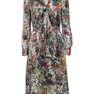 Tory Burch - Multicolored Metallic Floral Print Long Sleeve Dress w/ Tie Belt Sz 8