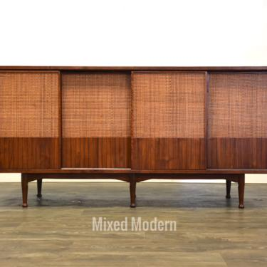Mid Century Modern Walnut and Cane Credenza by mixedmodern1