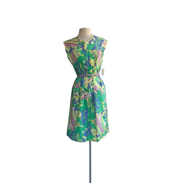 Vintage 90s fruit & floral summer dress  lemons blueberries watermelon slices  Woolworth  green yellow pink periwinkle cotton blend  NWT NOS by Vintagiality