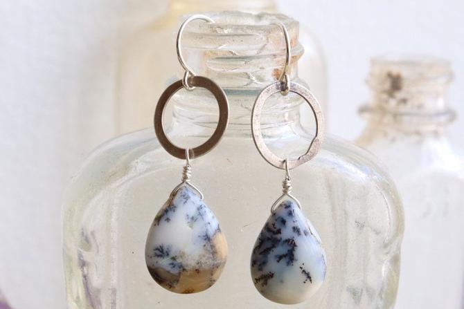 Dendritic Opal & Sterling Link Earrings by nonasuch