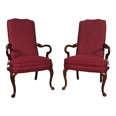 Queen Anne Mahogany Accent Chair With Burgundy Stripe Fabric ~ A Pair by modernmidcenturyfurn