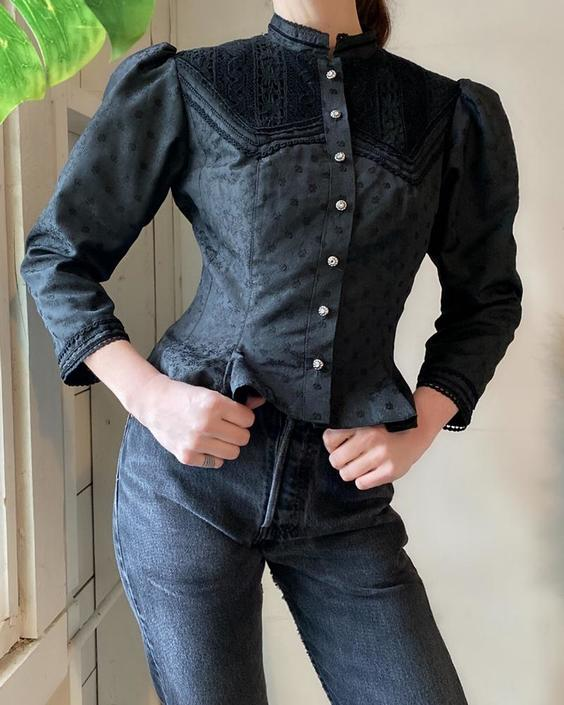 Victorian Style Brocade Blouse