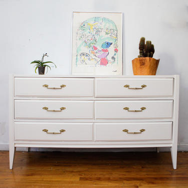 Basic Witz Mid Century Modern Dresser, White and Gold Modern Vintage Dresser, Changing Table, Credenza, Free NYC Delivery by AntiqueBoutiqueNYC