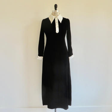 1970's Mod Black Velvet Evening Long Maxi Dress White Satin Peter Pan Collar Cuffs Rhinestone Buttons Cocktail Party Betty Lane Small by seekcollect