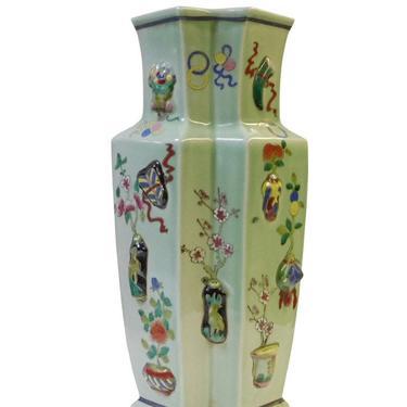 Chinese Light Green Dimensional Color Graphic Double Rhomboid Porcelain Vase cs1431E by GoldenLotusAntiques