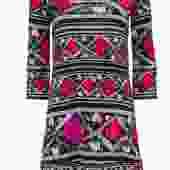 Diane von Furstenberg - Grey & Black Printed Silk Shift Dress w/ Multicolored Floral Print Sz 2