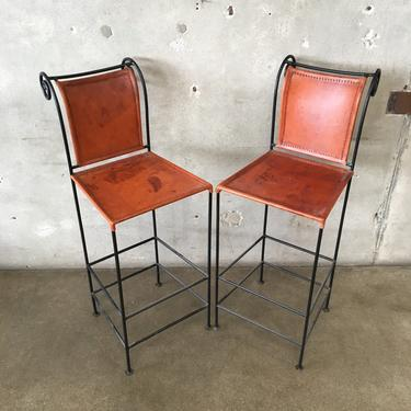 Pair of Leather and Wrought Iron Bar Stools