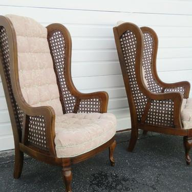Hollywood Regency Mid Century Extra Tall Caning Pair of Side Chairs 2197