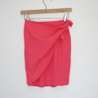 1990s neon pink wrap skirt by flutterandecho