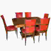 Original French Art Deco Modernist Dining Table and Chairs 1930's