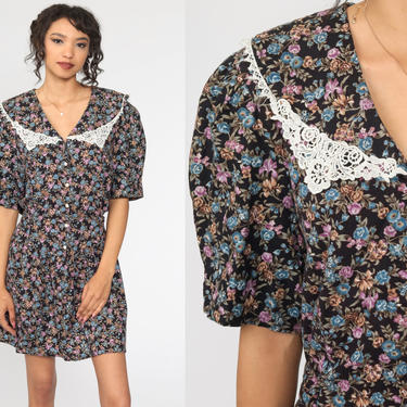 Floral Granny Dress 80s Mini Puff Sleeve LACE COLLAR Dress 90s Grunge Drop Waist Boho Vintage Lolita 1990s Button Up Extra Large xl by ShopExile