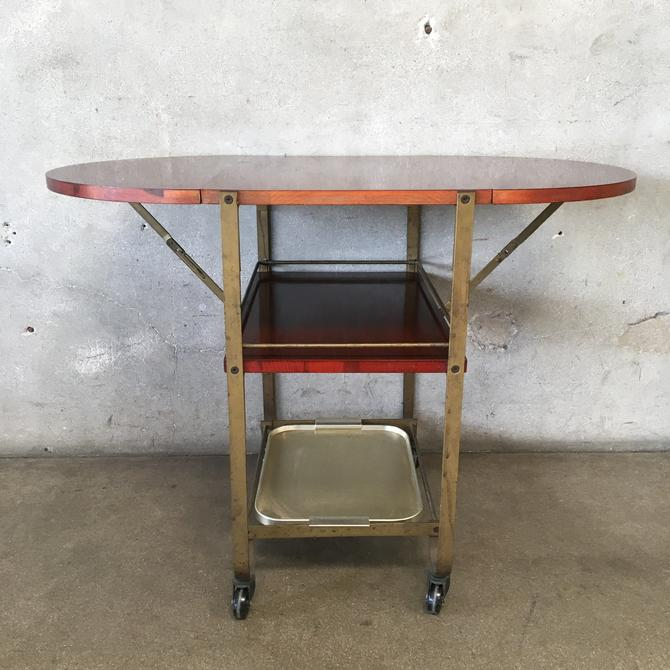 Mahogany And Brass Tea Cart With Drop Sides