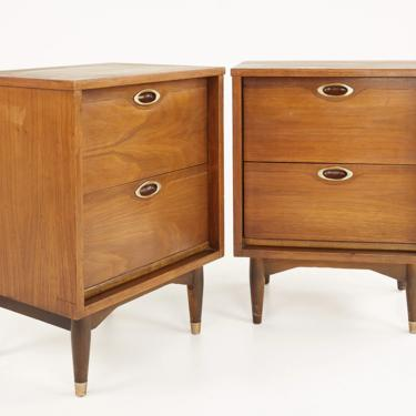 Mainline by Hooker Mid Century Walnut Nightstands - A Pair - mcm by ModernHill
