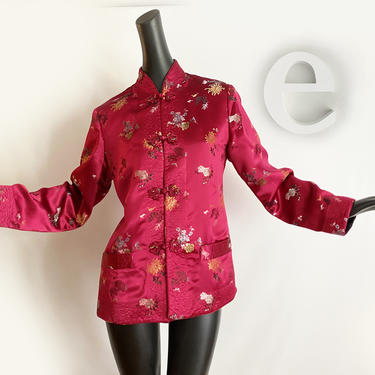 Reversible 1950s 60s Asian Coolie Jacket • Vintage Cranberry Red Black Chinese Silk Satin • Rockabilly Pin Up Robe Coat • Pockets in and out by elliemayhems