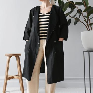 vintage linen duster jacket, black coat dress with pockets, size S by ImprovGoods