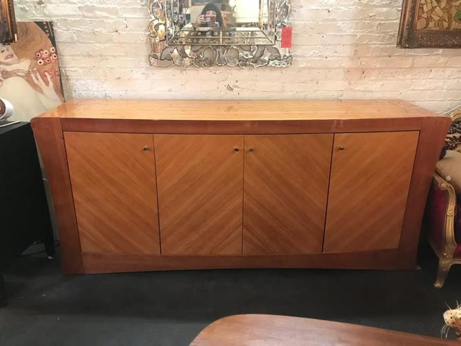 Vintage Mid Century Modern Milo Baughman Style Burled Wood Lacquered Credenza