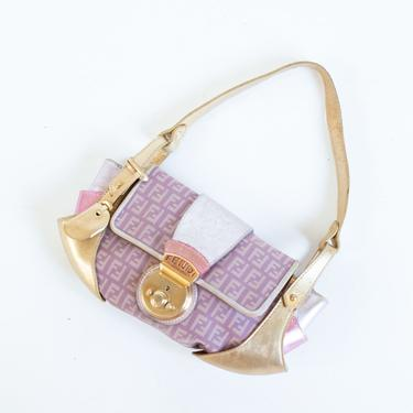 Vintage FENDI Borsa Tuc Zucchino Jacquard Baguette Bag in Pink + Metallic Gold and Purple Zucca Shoulder Purse Y2K Lock and Key by backroomclothing