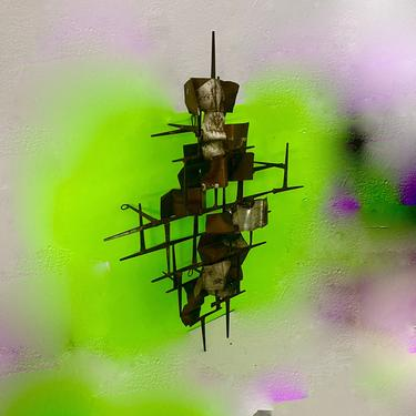 Vintage Modern C Jere Copper and Silver leaf Hanging Metal Sculpture by modern2120