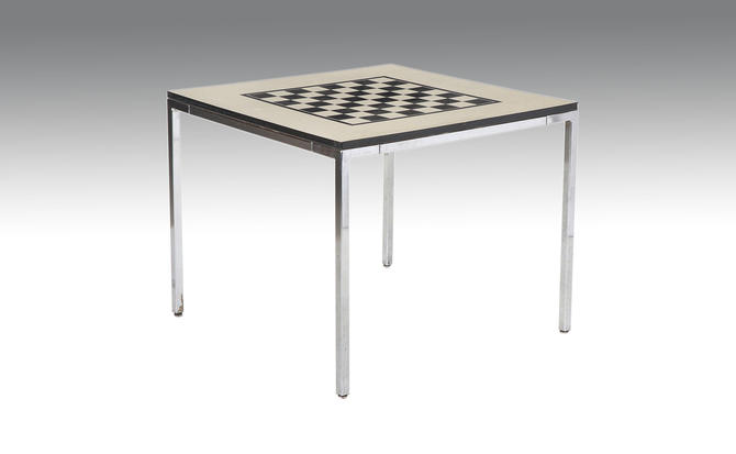 Vintage Checkerboard Top Table Metal Resin Mid Century Modern Style by VintageInquisitor