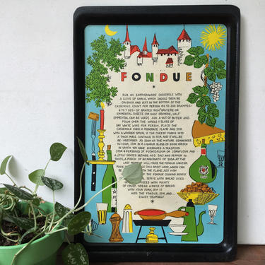 Mid Century Fondue Kitchen Tray, Foodie Gift, Retro Graphics, Cheese Fondue Serving Tray by luckduck