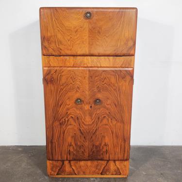 Art Deco Burl Flame Mahogany Lift-Top Bar Cabinet by IridiumInteriors